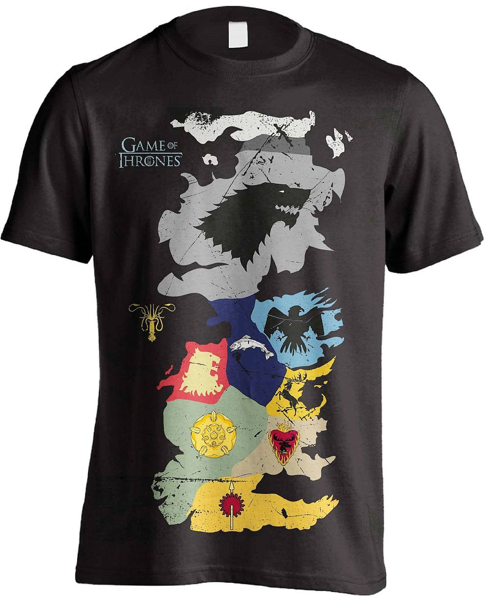 Game of Thrones T-Shirt Westeros Sigils Map Size M