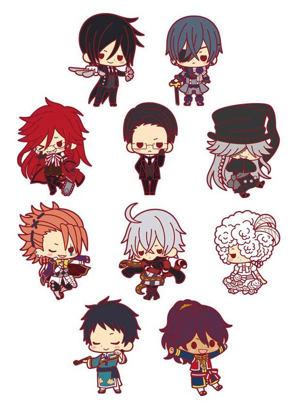 Black Butler Rubber Charms 5 cm Renewal Ver. Assortment (10)
