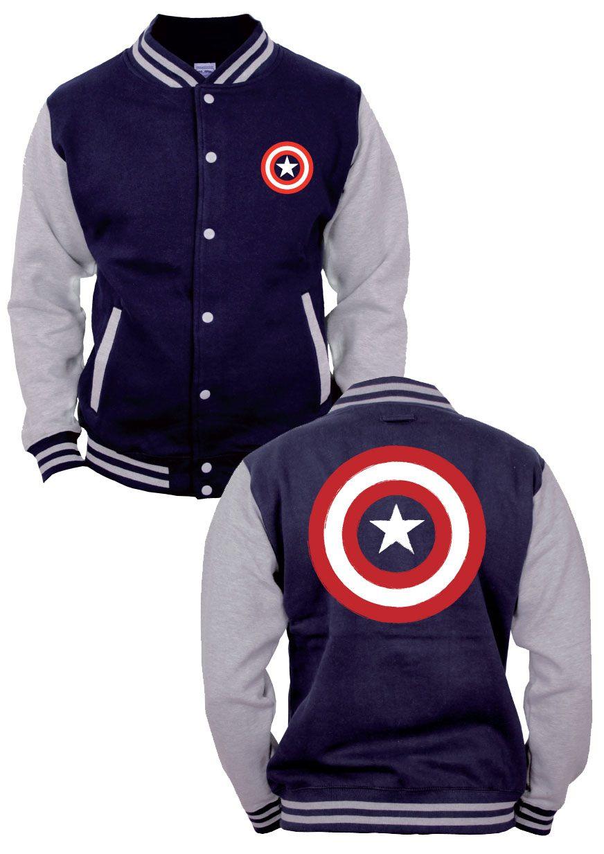 Captain America Baseball Varsity Jacket Shield Logo Size M
