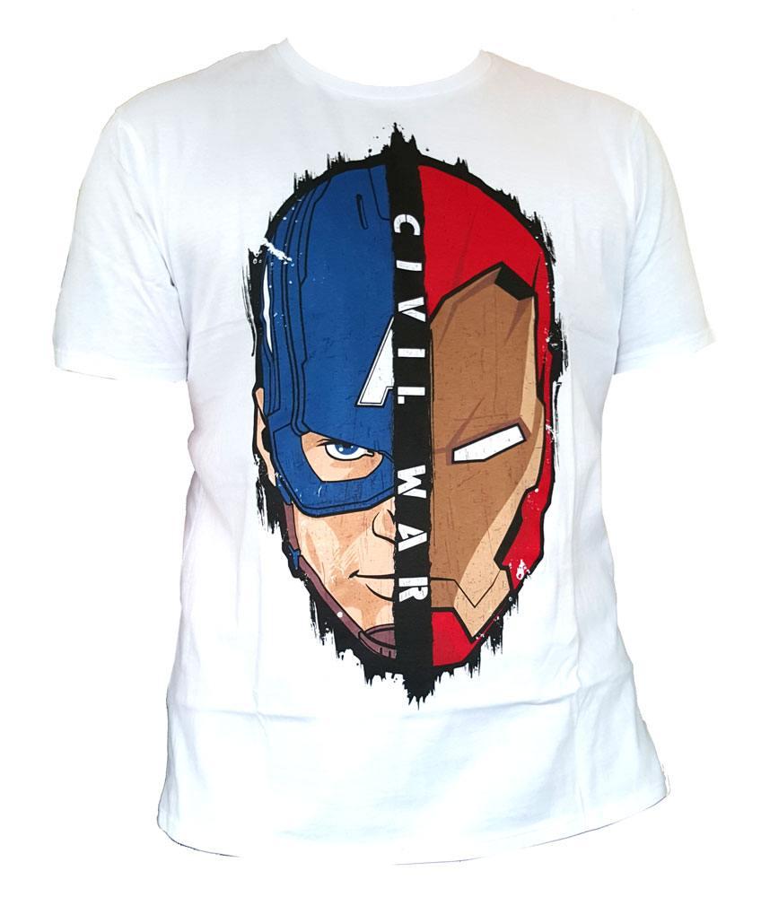 Captain America Civil War T-Shirt Stark Cap Head Size S