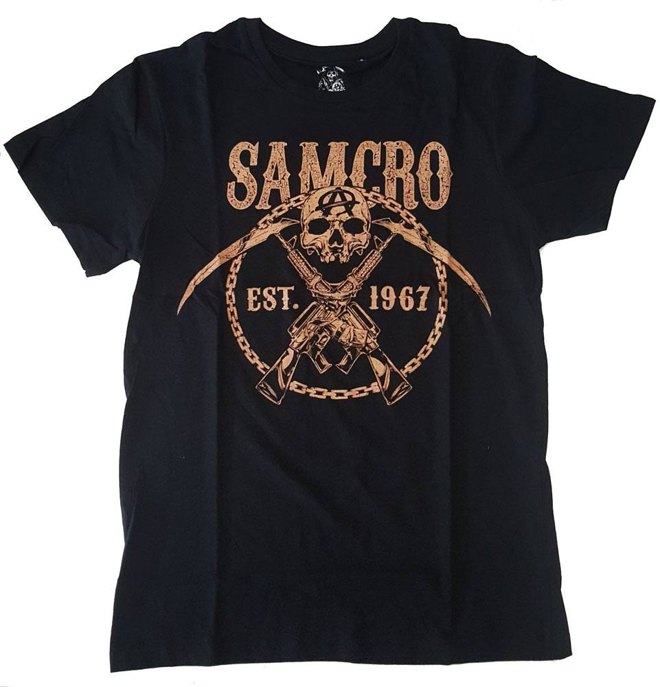 Sons Of Anarchy T-Shirt SAMCRO Chained Brown Size L