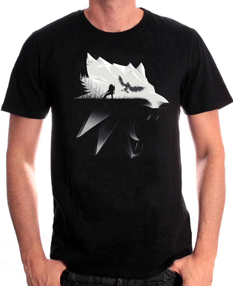 Witcher T-Shirt Wolf Silhouette Size XL
