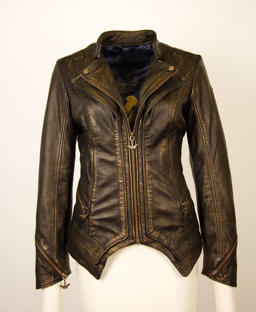 Wonder Woman Ladies Leather Jacket Metallic Logo Size M