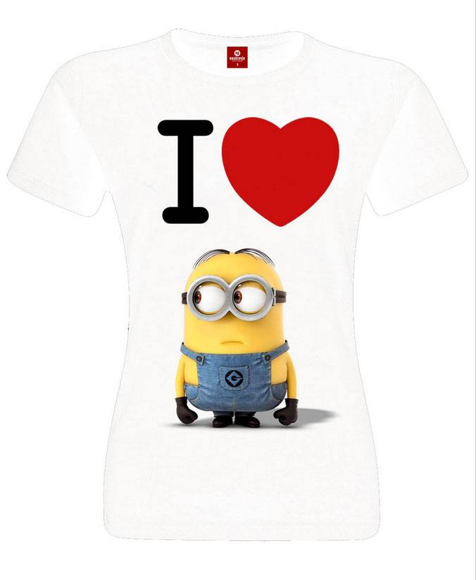 Despicable Me 2 Ladies T-Shirt I Love Minions Size XL