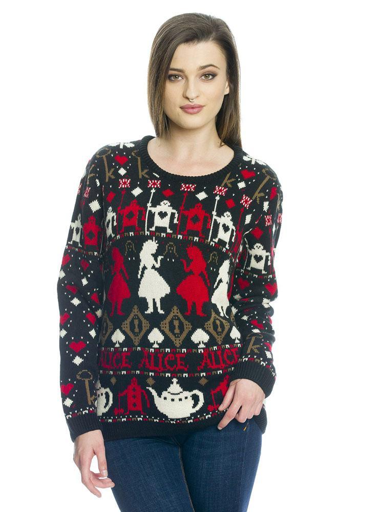 Alice in Wonderland Ladies Knitted Sweater Heart & Tea Size L