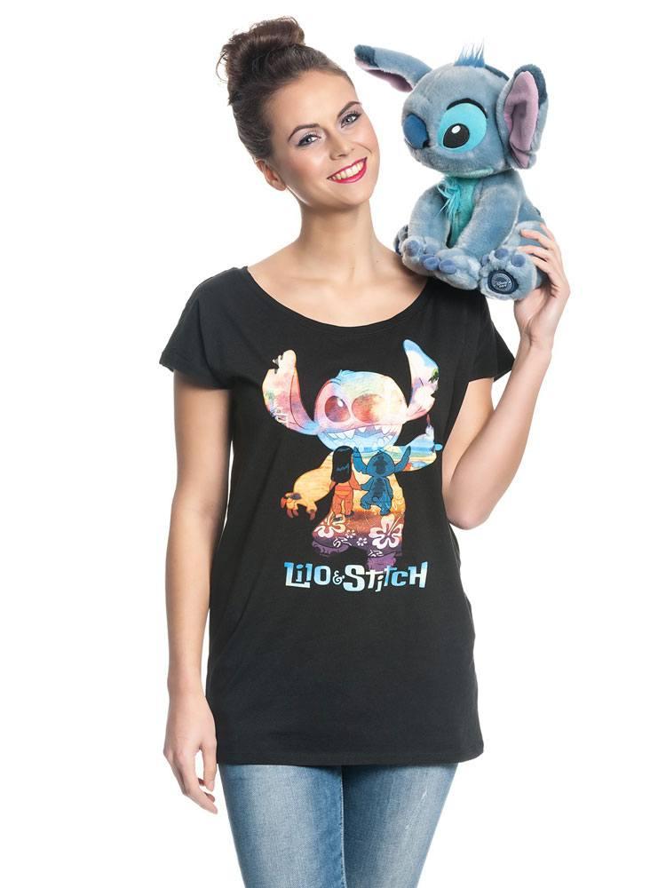 Lilo & Stitch Ladies T-Shirt On The Beach Size L