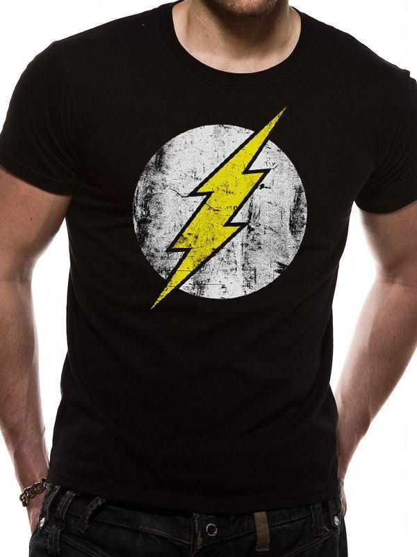 The Flash T-Shirt Distressed Logo Size XXL