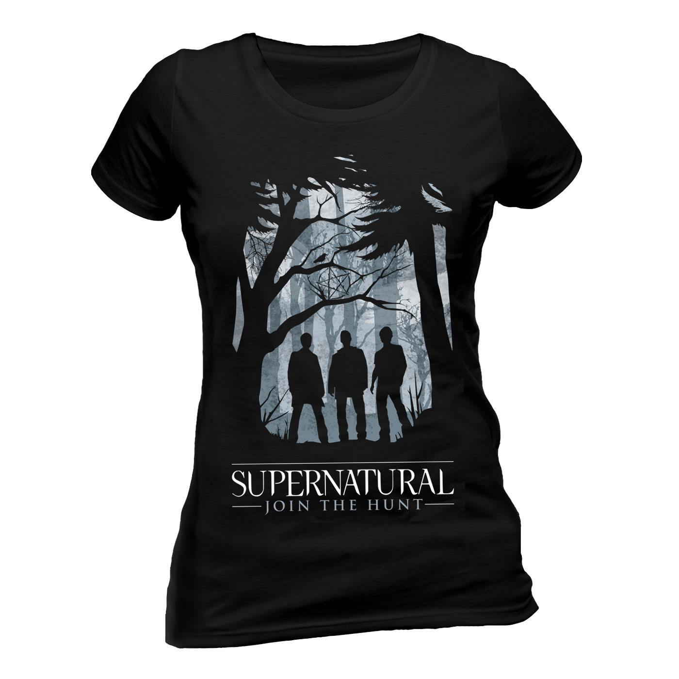 Supernatural Ladies T-Shirt Group Outline Size S
