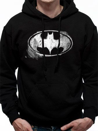 Batman Hooded Sweater Mono Distressed Logo Size XXL