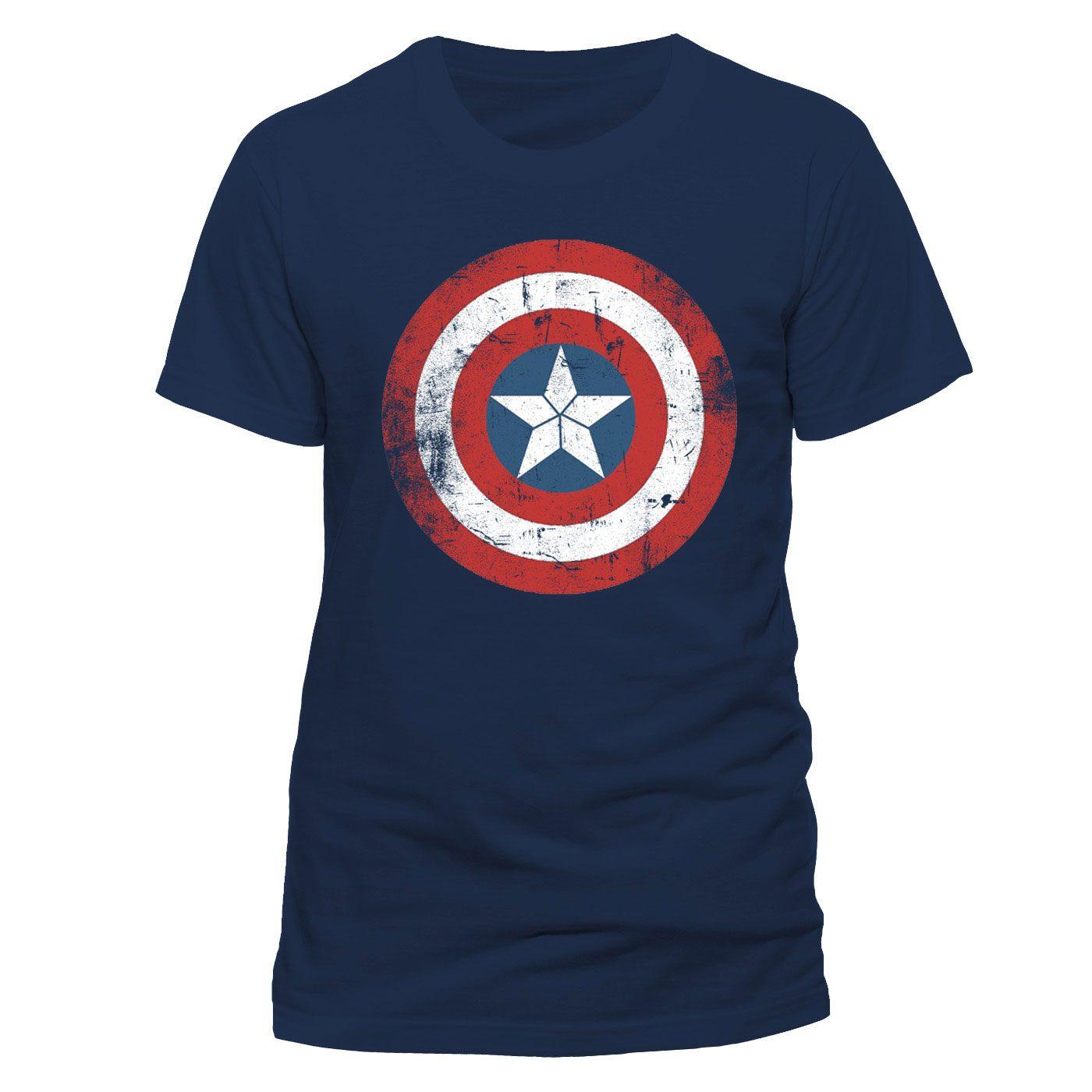 Captain America T-Shirt Shield Logo Distressed Size XL