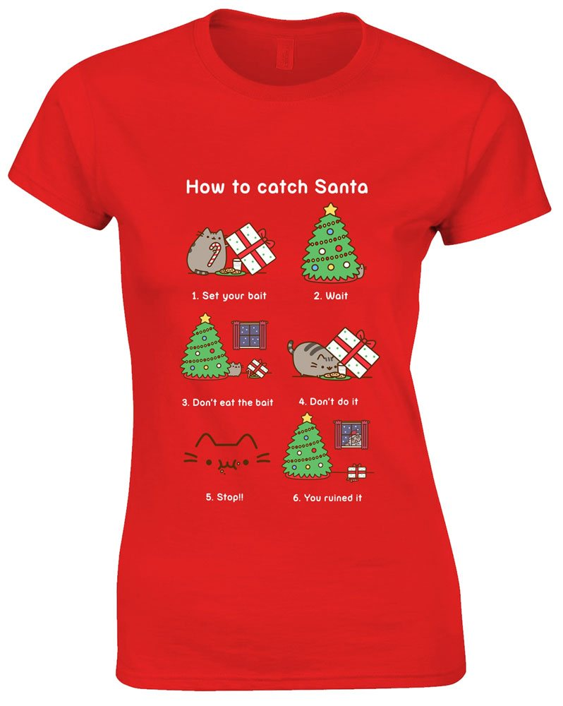 Pusheen Ladies T-Shirt How To Catch Santa Size S