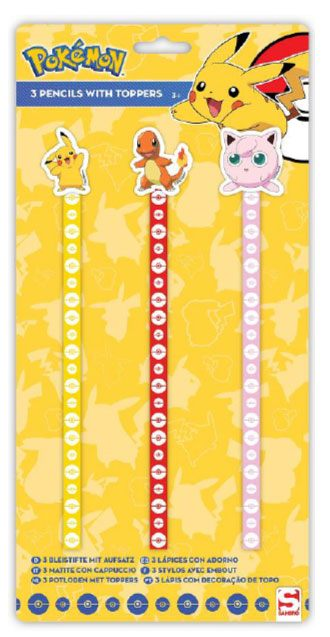 Pokemon Pencil with Topper 3-Pack