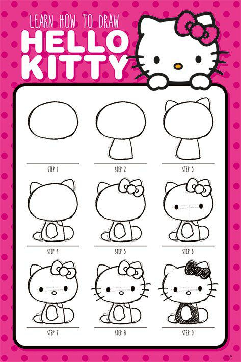 Hello Kitty Poster Pack How To Draw 61 x 91 cm (5)