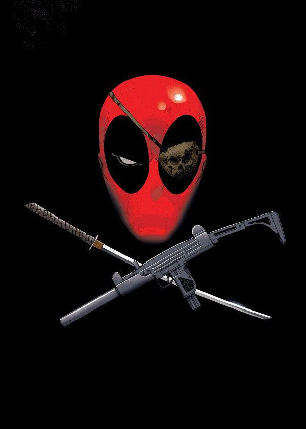 Marvel Comics Metal Poster Deadpool Merc with a Mouth Piratepool 68 x 48 cm