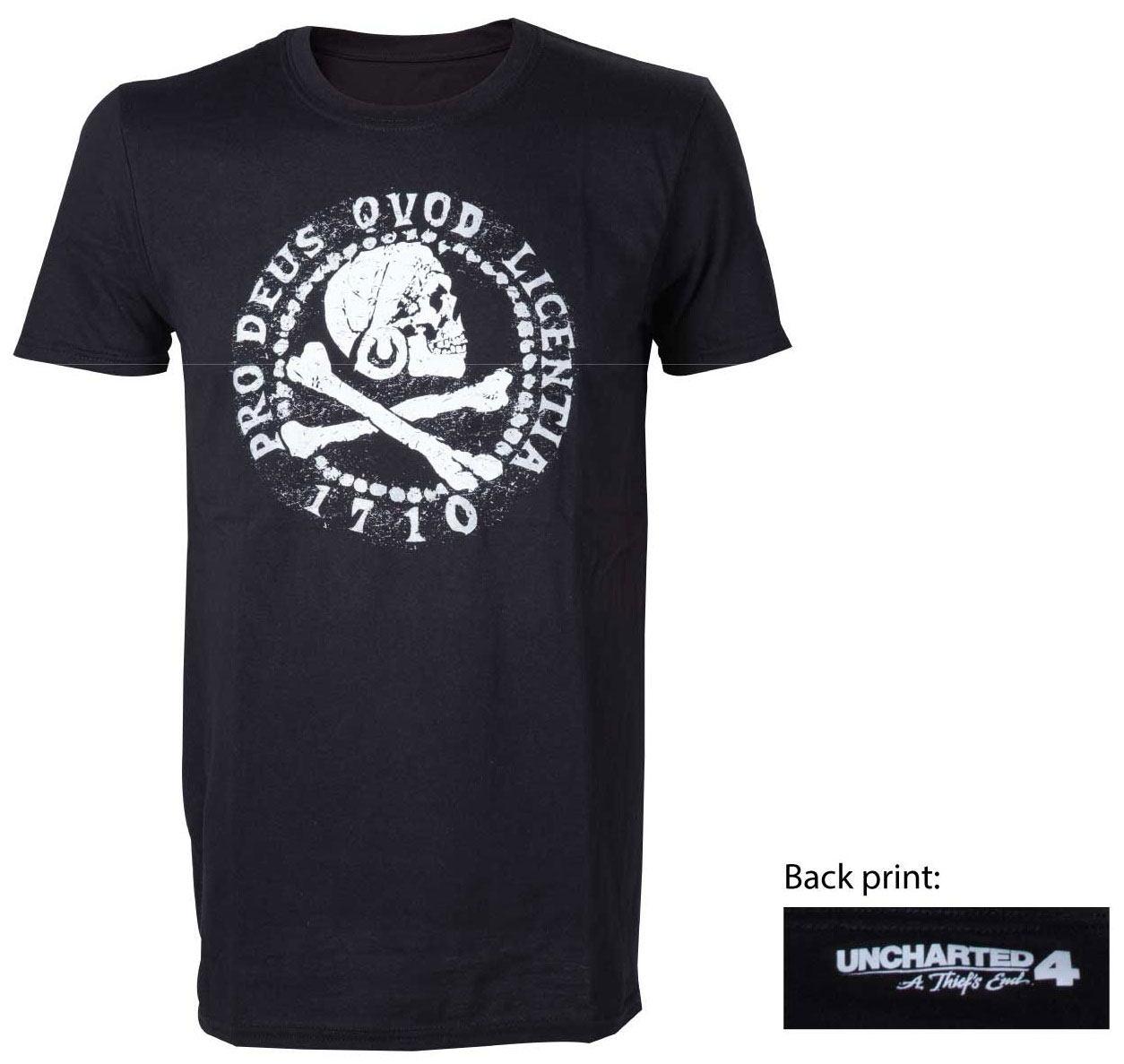 Uncharted 4 T-Shirt Skull Logo Size L