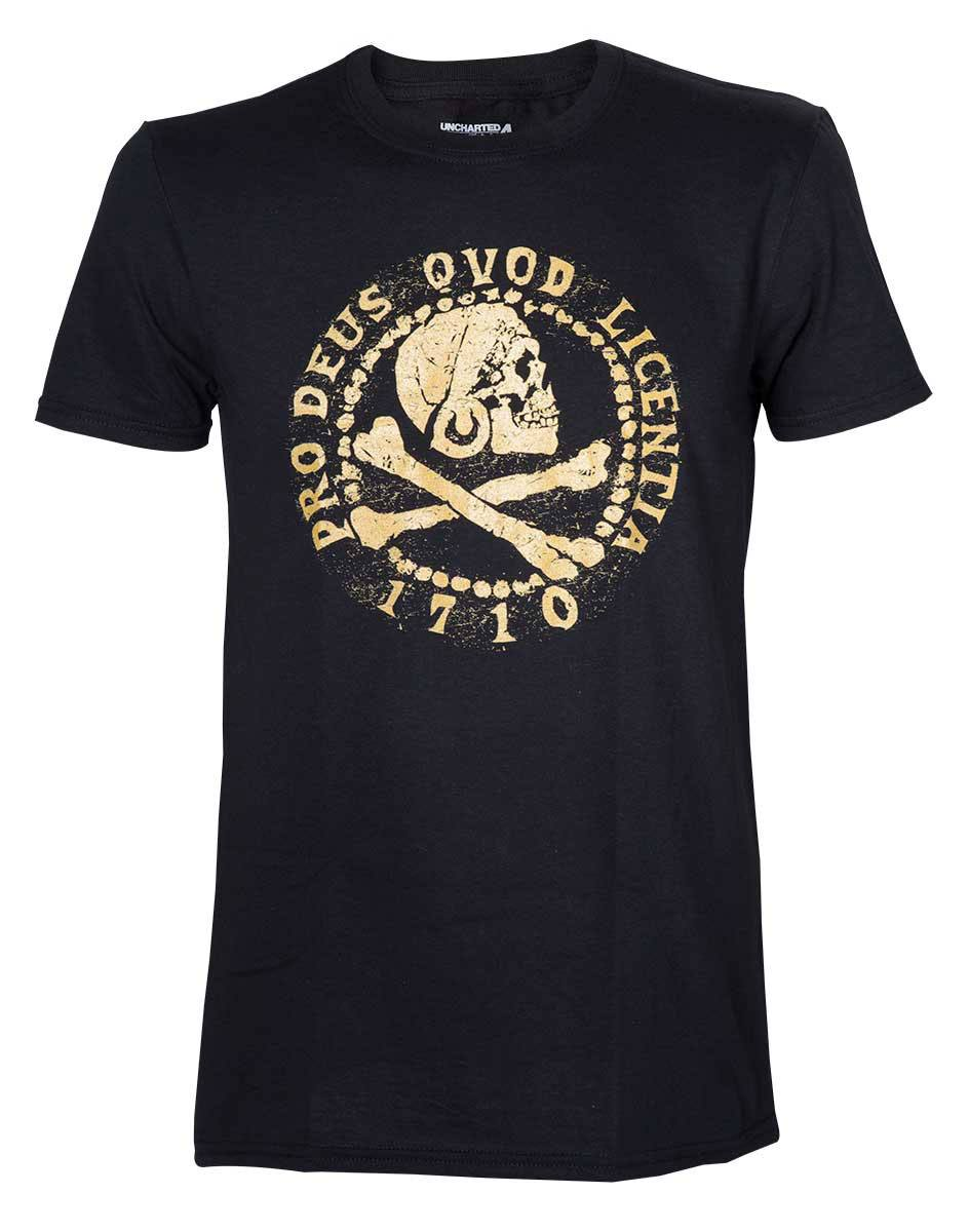 Uncharted 4 T-Shirt Skull Logo Gold Size XL