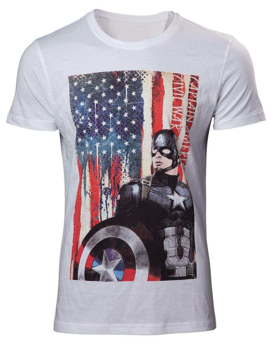 Captain America Civil War T-Shirt American Flag  Size L