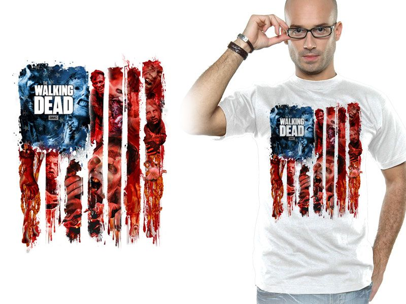 Walking Dead T-Shirt Walker Flag Montage White Size S