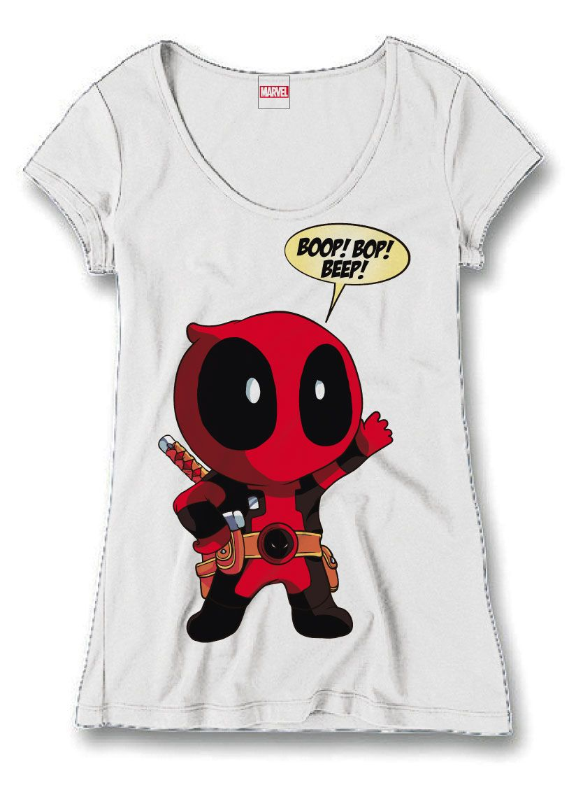 Deadpool Ladies T-Shirt Boop Bop Beep Size S