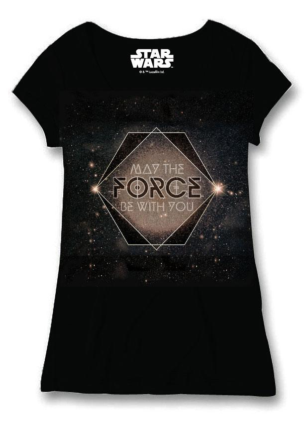 Star Wars Ladies T-Shirt Galactic May The Force Size L