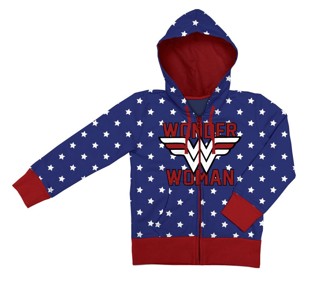 Wonder Woman Ladies Hooded Zip Sweater Logo Size XL