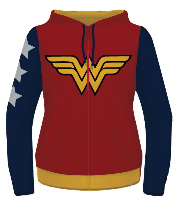 Wonder Woman Ladies Hooded Zip Sweater Yellow Logo Size L