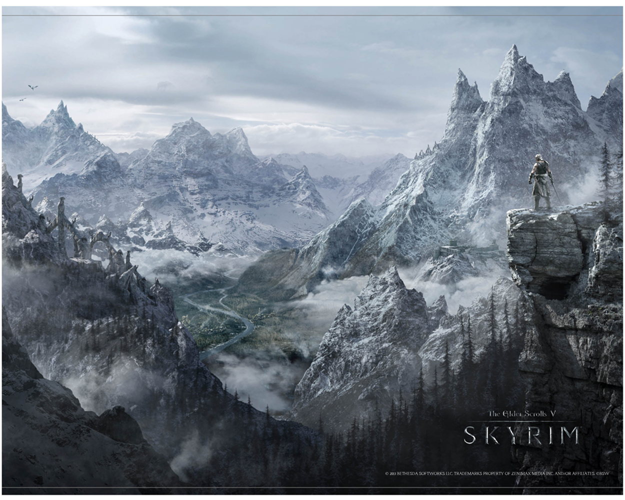 The Elder Scrolls V Skyrim Wallscroll Valley 100 x 77 cm