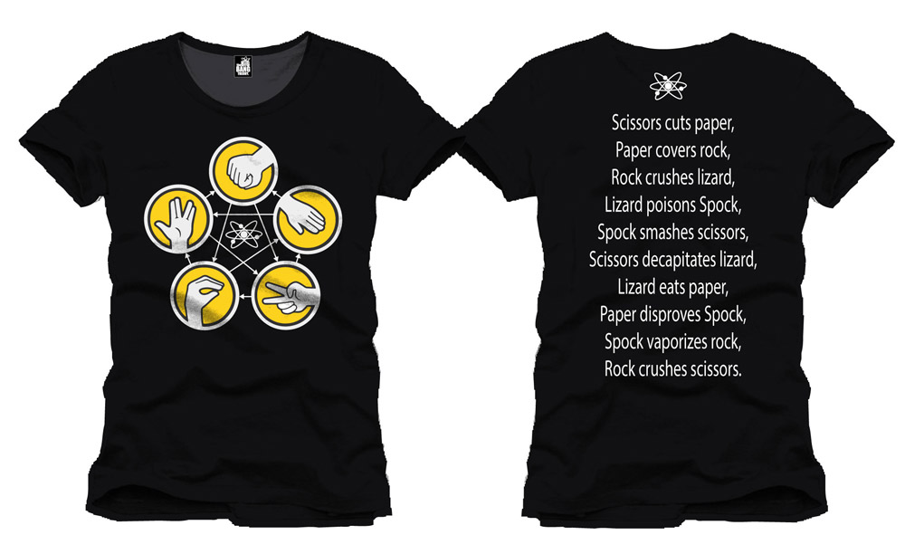The Big Bang Theory T-Shirt Rock Paper Scissors black Size L