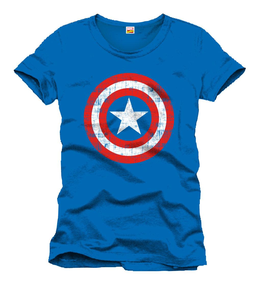 Captain America T-Shirt Shield Logo blue Size L