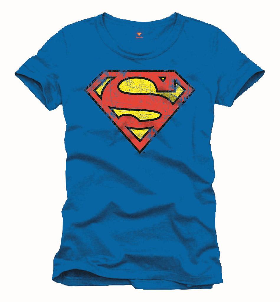 Superman T-Shirt Vintage Logo  Size M Blue