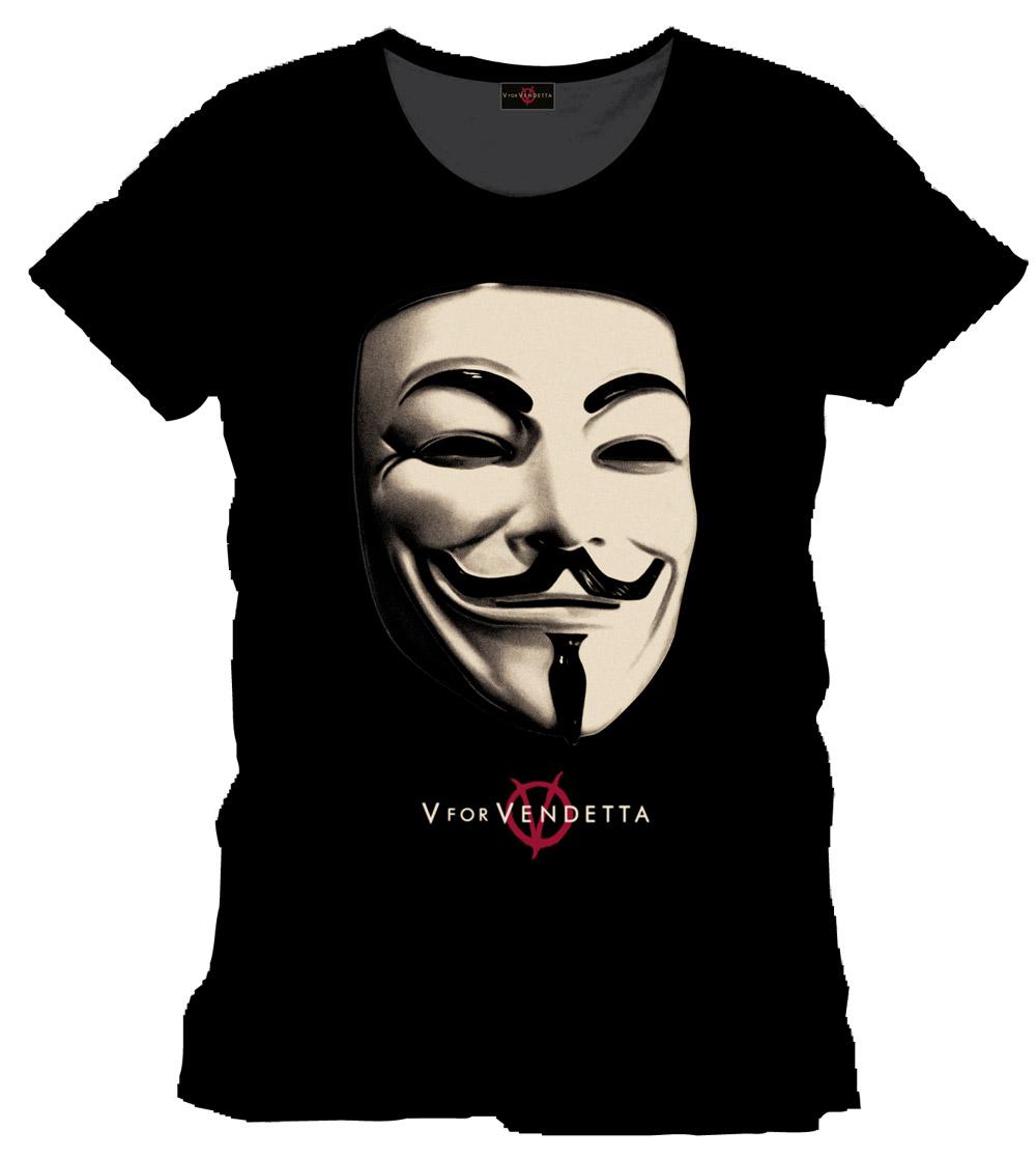 V for Vendetta T-Shirt Mask black Size L