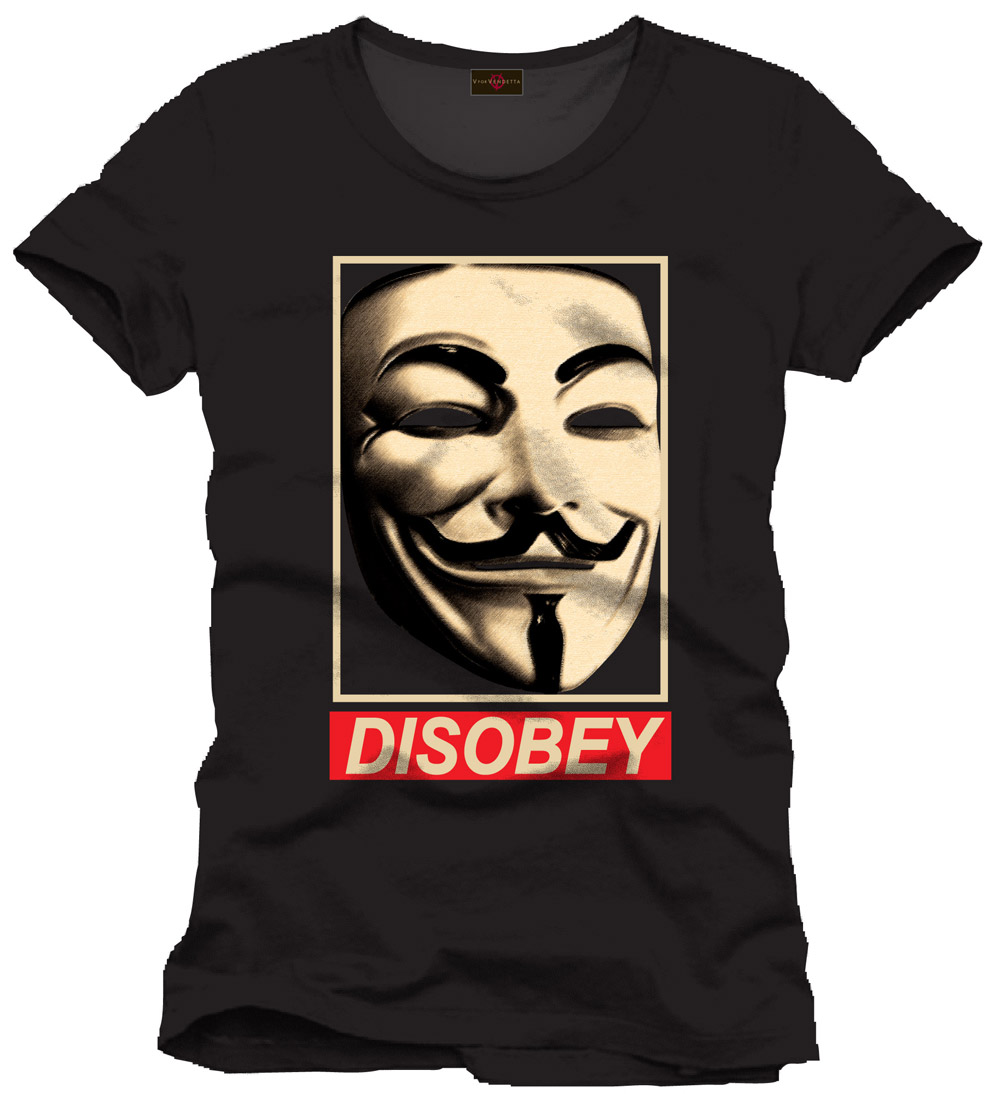 V for Vendetta T-Shirt Disobey Size L