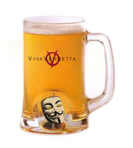 V for Vendetta Beer Glass 3D Rotating Mask